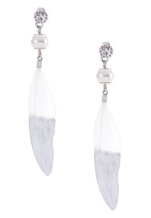 Pearl Feather Dangle Earrings | Tuggl