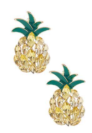 Pineapple Button Earrings | Tuggl