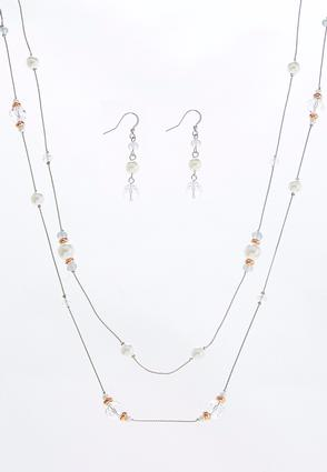 Layered Pearl Bead Necklace Set | Tuggl