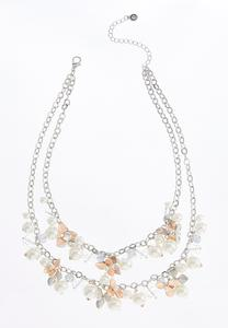 Layered Shaky Pearl Flower Necklace