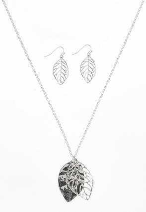 Inspirational Leaf Necklace Set | Tuggl