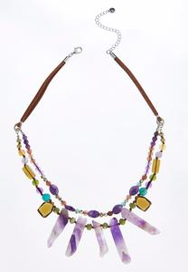 Suede Layered Row Necklace