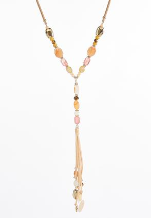 Semi-Precious Faux Suede Tassel Necklace at Cato in Brooklyn, NY | Tuggl