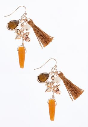 Bead Tassel Cluster Earrings