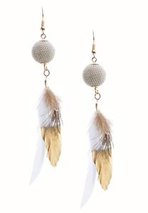 Ivory Ball Feather Earrings