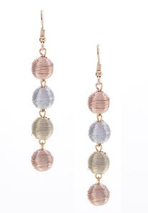 Linear Tri-Toned Ball Earrings