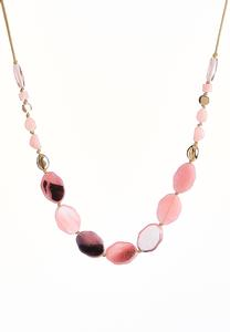 Marbled Mixed Bead Cord Necklace