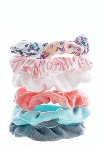 Floral Stripe Scrunchie Set