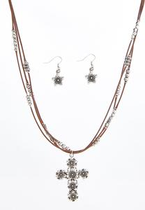 Flower Cross Cord Necklace Set
