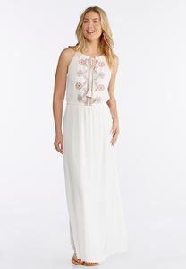 Petite Embroidered Halter Maxi Dress