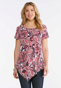 Plus Size Berry Paisley Puff Print Top