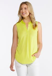 Plus Size Sleeveless Solid Popover Tank