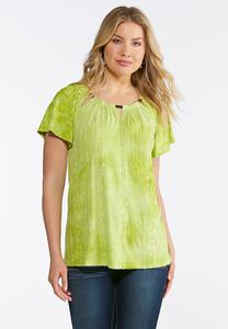 Plus Size Embellished Lime Top