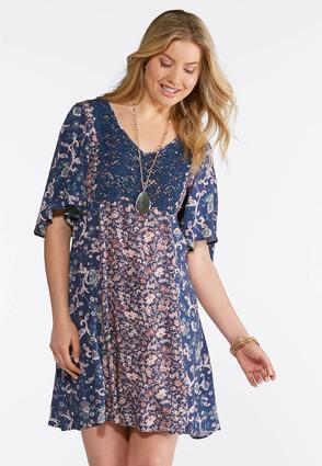 Boho Floral Print Swing Dress | Tuggl