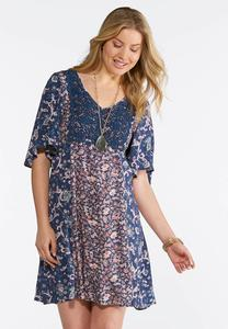 Plus Size Boho Floral Print Swing Dress