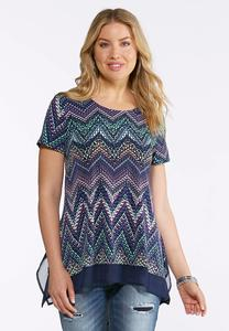 Plus Size Navy Speckled Chevron Top