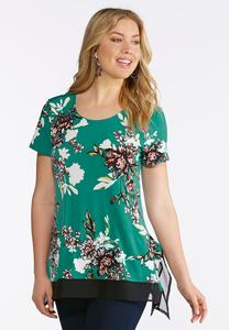 Plus Size Layered Teal Floral Top
