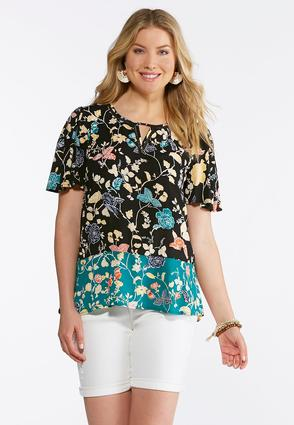 Floral Ladder Stitch Top at Cato in Brooklyn, NY | Tuggl