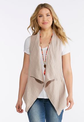Plus Size Draped Cotton Vest | Tuggl