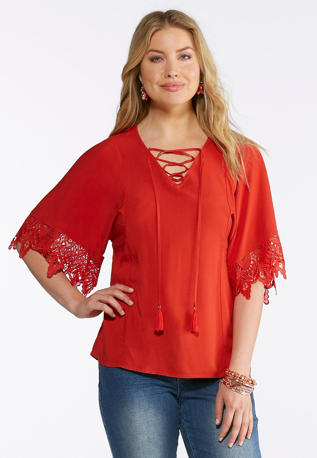 a8c0b8882c3 Plus Size Tasseled Lace Sleeve Top Tops Cato Fashions