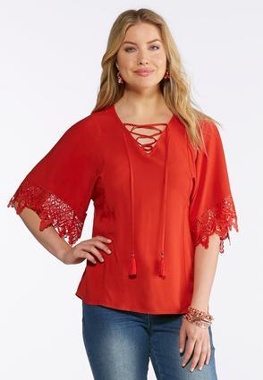Plus Size Tasseled Lace Sleeve Top | Tuggl