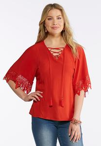 Plus Size Tasseled Lace Sleeve Top