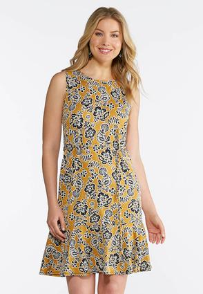 Gold Puff Floral Dress