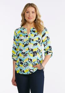 Plus Size Floral Chevron Top
