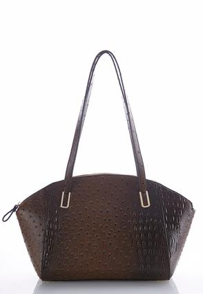 Curved Faux Ostrich Satchel