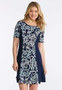 Plus Size Blue Swirl Puff Print Dress