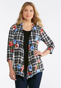 Plaid Floral Cardigan Layered Tank