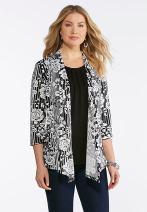 Striped Floral Cardigan Layered Tank