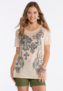 Embellished Scroll Cross Top