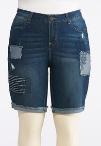 Plus Size Patchwork Denim Bermuda Shorts