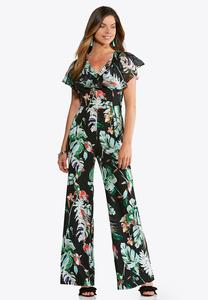Plus Size Tropical Print Jumpsuit