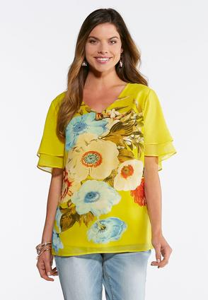 Plus Size Golden Blossom Tiered Sleeve Top | Tuggl