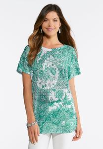Plus Size Embellished Burnout Ruched Top