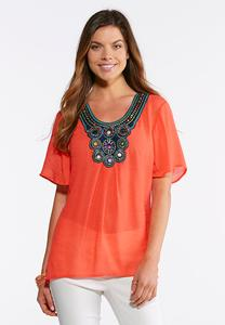 Plus Size Embellished Bib Woven Top