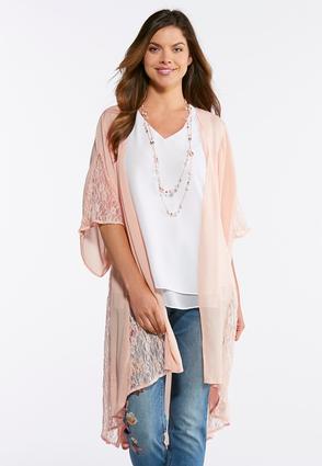 Plus Size Gauze Lace Kimono Duster | Tuggl
