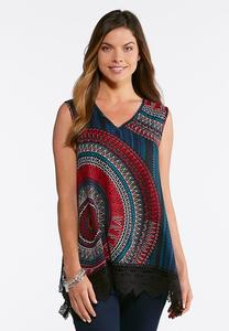 Plus Size Aztec Circle Lace Trim Tank