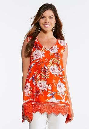 Plus Size Citrus Floral Crochet Tank at Cato in Brooklyn, NY | Tuggl