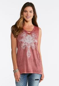 Plus Size Embellished Cross Knit Top