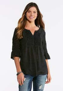 Plus Size Solid Lace And Crochet Poet Top