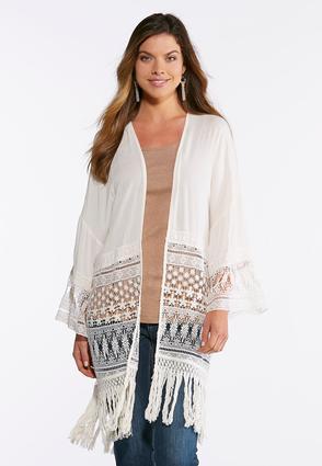 Lacy Fringe Kimono | Tuggl