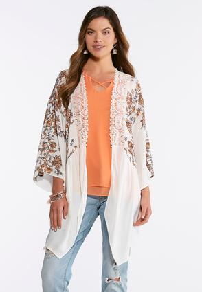 Natural Floral Lace Kimono | Tuggl