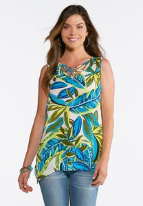 Tropical Embellished Lattice Tank