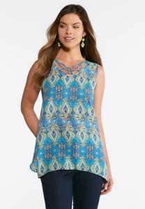 Medallion Embellished Lattice Tank