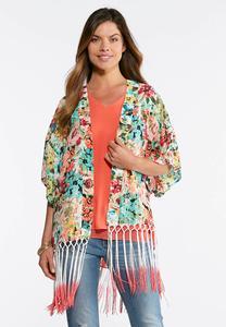 Floral Ombre Fringe Kimono
