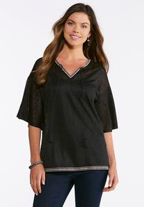 Plus Size Aztec Trim Poet Top