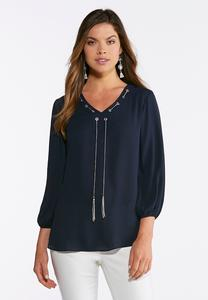 Navy Chain Tassel Top